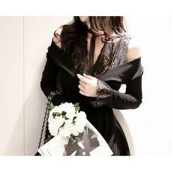 Marlangrouge - V-Neck Lace-Trim A-Line Dress