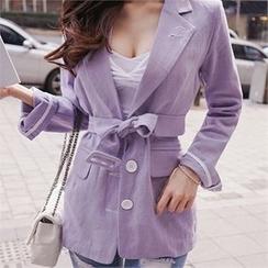 Babi n Pumkin - Padded-Shoulder Single-Breasted Jacket with Belt