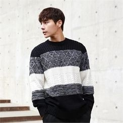 BYMONO - Color-Block Cable-Knit Sweater