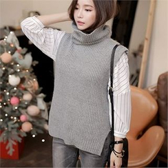 CHICLINE - Trutle-Neck Knit Vest