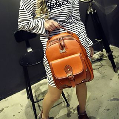Seok - Two-Tone Faux Leather Backpack