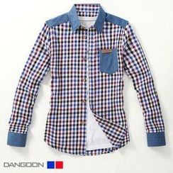 DANGOON - Denim-Trim Gingham Shirt