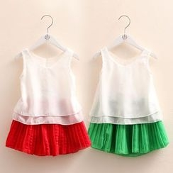 Seashells Kids - Kids Set: Chiffon Tank Top + Pleated Skirt