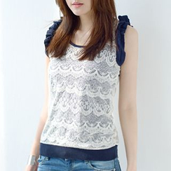 59 Seconds - Ruffle Trim Sleeveless Lace Top