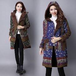 Splashmix - Hooded Printed Fleece-Lined Coat