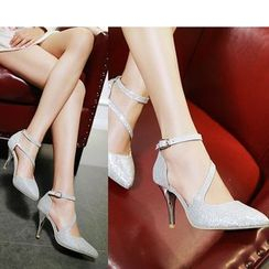 Freesia - Ankle Strap Pointed Toe Pumps