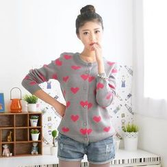 59 Seconds - Heart Print Button-Down Cardigan