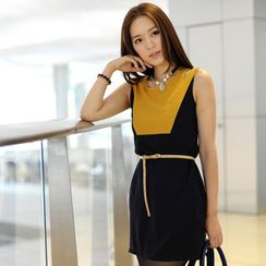 59th Street - Color Block Cut-Off Dress (Belt not Included)