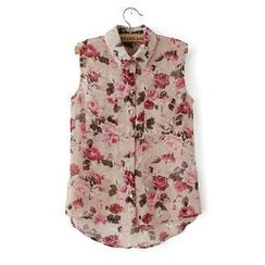 JVL - Sleeveless Floral Chiffon Shirt