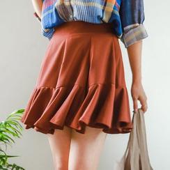 JUSTONE - Ruffle-Hem Mini Skirt