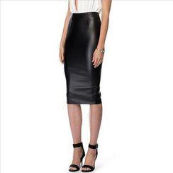 Richcoco - Faux Leather Midi Pencil Skirt