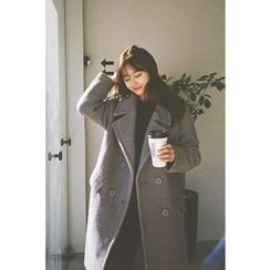 CHERRYKOKO - Notched-Lapel Double-Breasted Wool Blend Coat