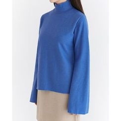 Someday, if - Mock-Neck Bell-Sleeve Wool Blend Top