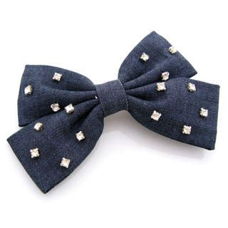 Fit-to-Kill - Diamond denim bow hair pin -dark blue