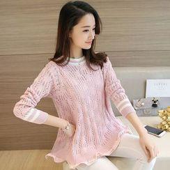 Shomez - Pointelle Knit Sweater