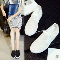 Shoes Galore - Lace Slip-Ons
