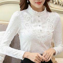 Eferu - 荷叶边缀饰蕾丝衬衫