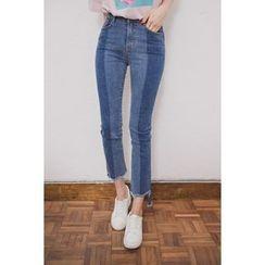 migunstyle - Frey-Hem Color-Block Jeans