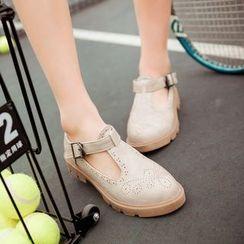Pretty in Boots - Brogue T-Strap Flats