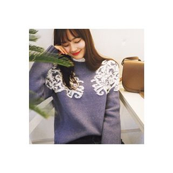 CHERRYKOKO - Crew-Neck Patterned Knit Top