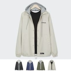 DANGOON - Detachable-Hood Snap-Button Jacket
