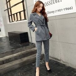 Romantica - Set: Drawstring Long Jacket + Slim-Fit Pants