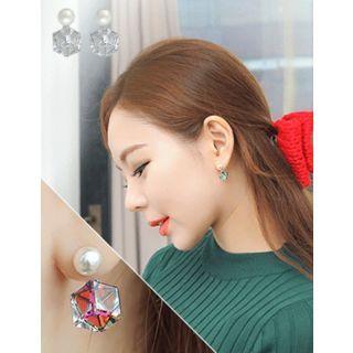 soo n soo - Geometric Faux-Pearl Stud Earrings