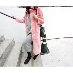 MARSHMALLOW - Faux-Fur Long Jacket