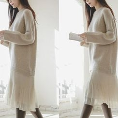 JUSTONE - Ruffled Chiffon-Hem Wool Blend Knit Dress