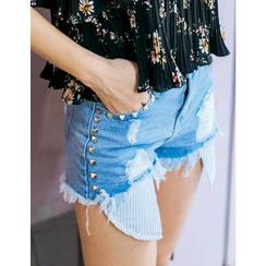 GUMZZI - Frey-Hem Studded-Detail Denim Shorts