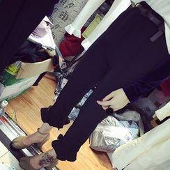 时尚麻豆家 - 荷叶摆西裤