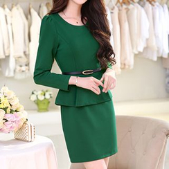 Romantica - Long-Sleeve Peplum Dress