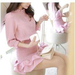 Sienne - 3/4-Sleeve Ruffle Trim Dress