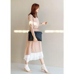 J-ANN - Slit-Side Dip-Back Long Pullover Dress
