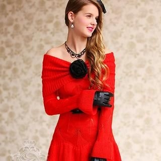 Dabuwawa - Turtleneck Peplum Pointelle-Knit Dress