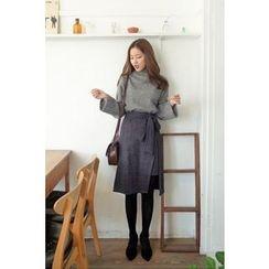 CHERRYKOKO - Cutout-Front Check Skirt with Sash