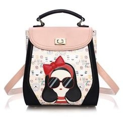 Dauphine - Cartoon Print Color Block Faux Leather Backpack