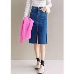 J-ANN - Fray-Hem Slit-Side Denim Skirt