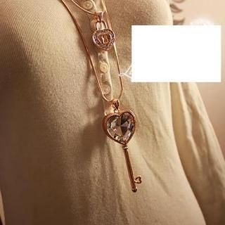 Love Generation - Rhinestone Heart Lock & Key Necklace