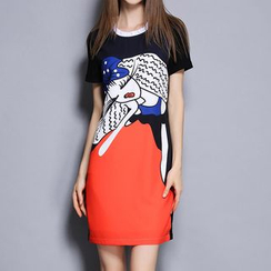 Merald - Short-Sleeve Print Sheath Dress
