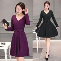 Sienne - Plain Long Sleeve A-Line Dress