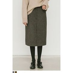 QQQQ - Checked Wool Blend Midi Skirt