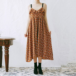 chuu - Spaghetti-Strap Floral Pattern Long Dress