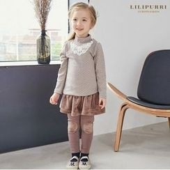 LILIPURRI - Girls Set: Mock-Neck Dotted Top + Inset Skirt Leggings