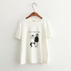 Vateddy - Cartoon Print Short Sleeve T-Shirt