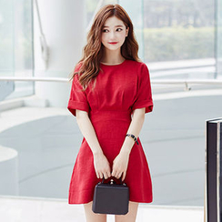 chuu - Cuff-Sleeve A-Line Mini Dress