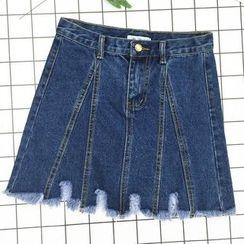 About a Girl - Distressed Hem A-Line Denim Skirt