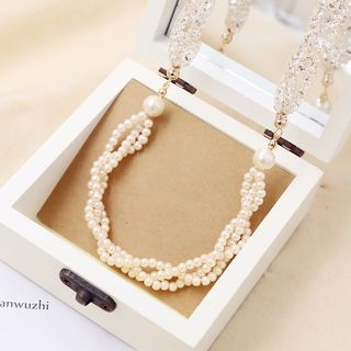 Love Generation - Faux-Pearl Rhinestone Long Necklace