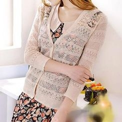 Coralie - Lace Panel Knit Cardigan