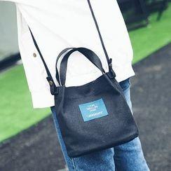 Youme - Lettering Applique Canvas Shoulder Bag